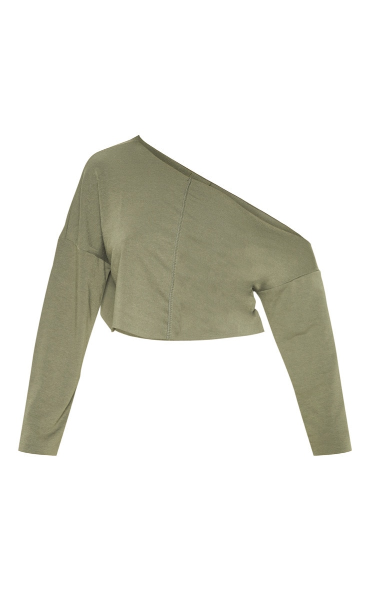 Hadley Khaki Off Shoulder Cropped Sweater 3