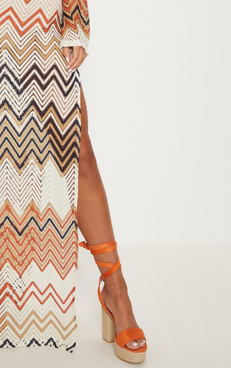 Burnt Orange Chevron Print Lace Maxi Dress 5