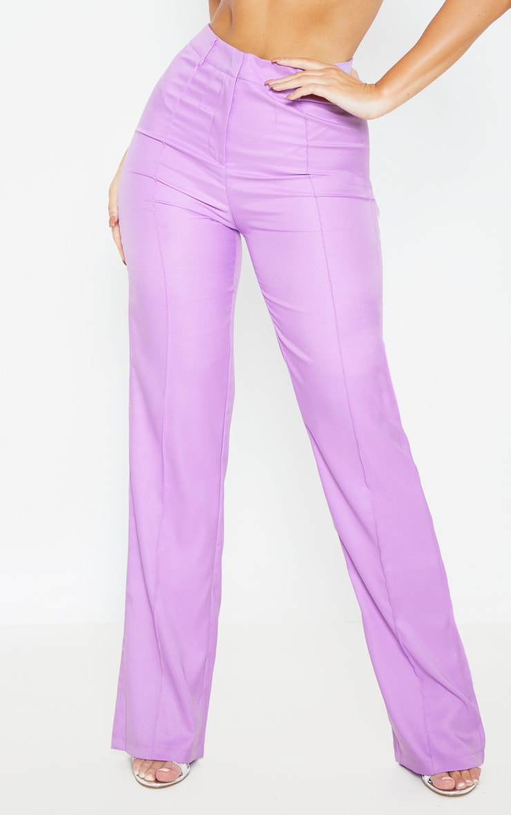 Anala Lilac High Waisted Straight Leg Trousers 2