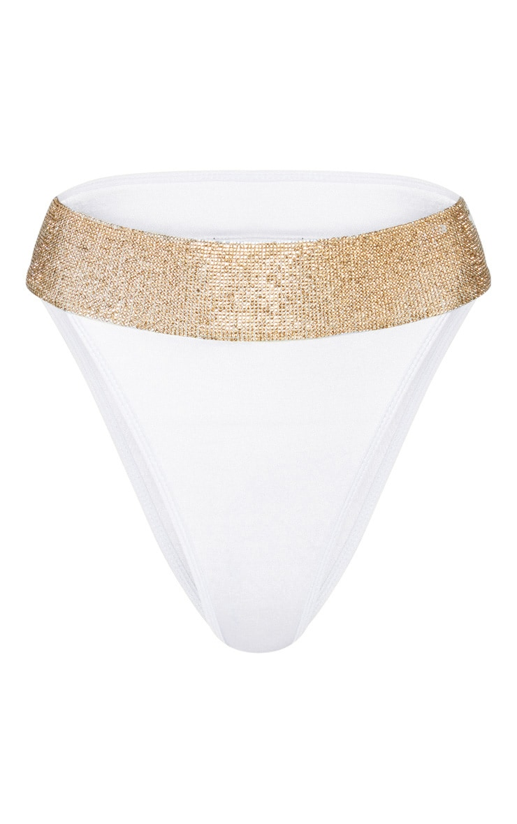 Cream Diamante High Leg Bikini Bottom 3