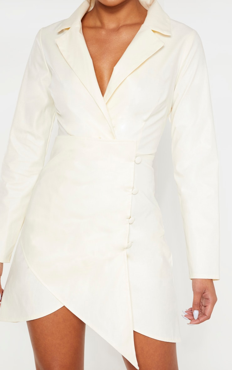 Cream Faux Leather Long Sleeve Button Up Detail Bodycon Dress 5