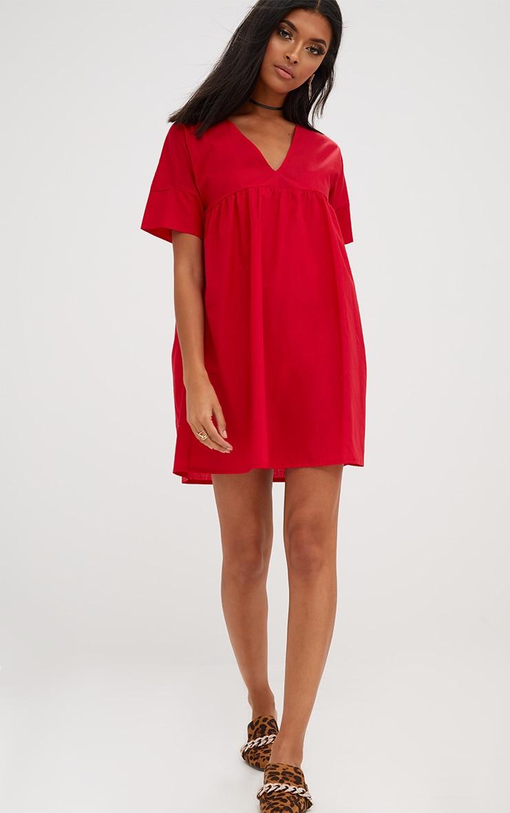 Red Poplin Smock Dress 4