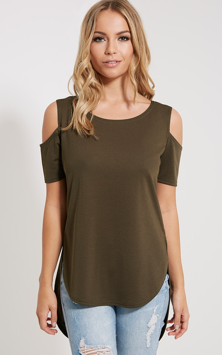 Eugene Khaki Cold Shoulder Crepe Drop Hem Top 1