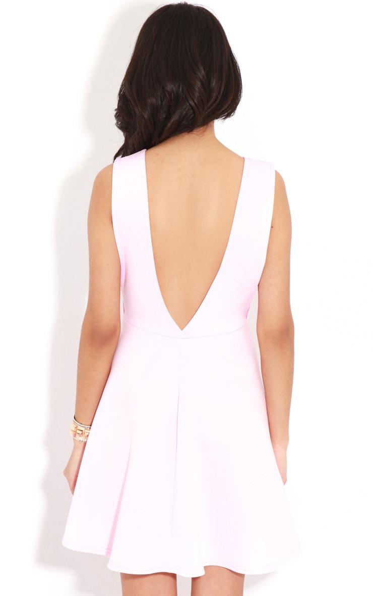 Arianna Pink Scuba Side Slit Skater Dress 2