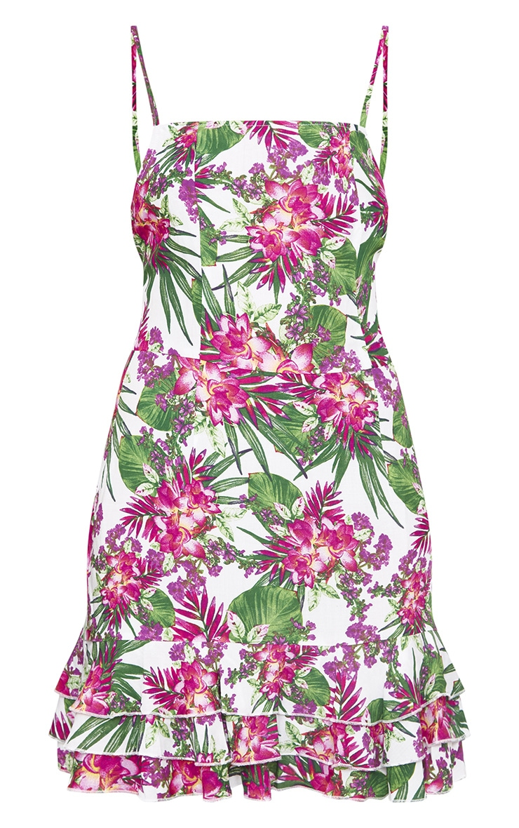Pink Tropical Floral Strappy Shift Dress 3