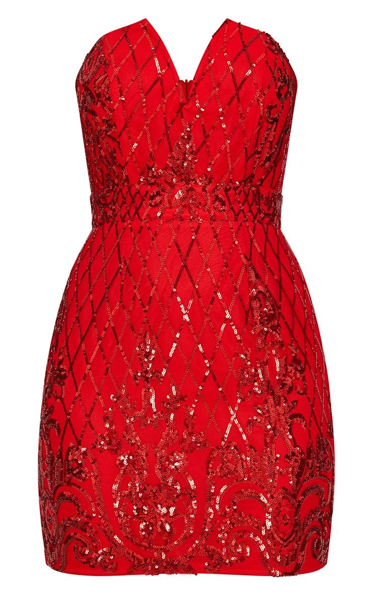 Red Bandeau V Cut Bodycon Dress 3