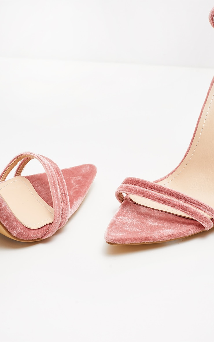 Blush Velvet Point Toe Strappy Sandal  3