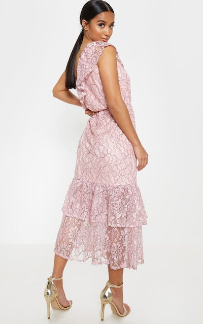 Petite Dusty Pink Off The Shoulder Multi Frill Midaxi Dress