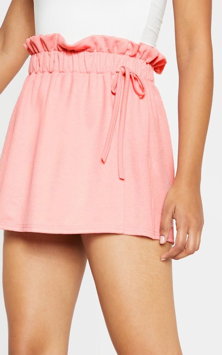 Pink Wrap Front Drawstring Waist Skort  5