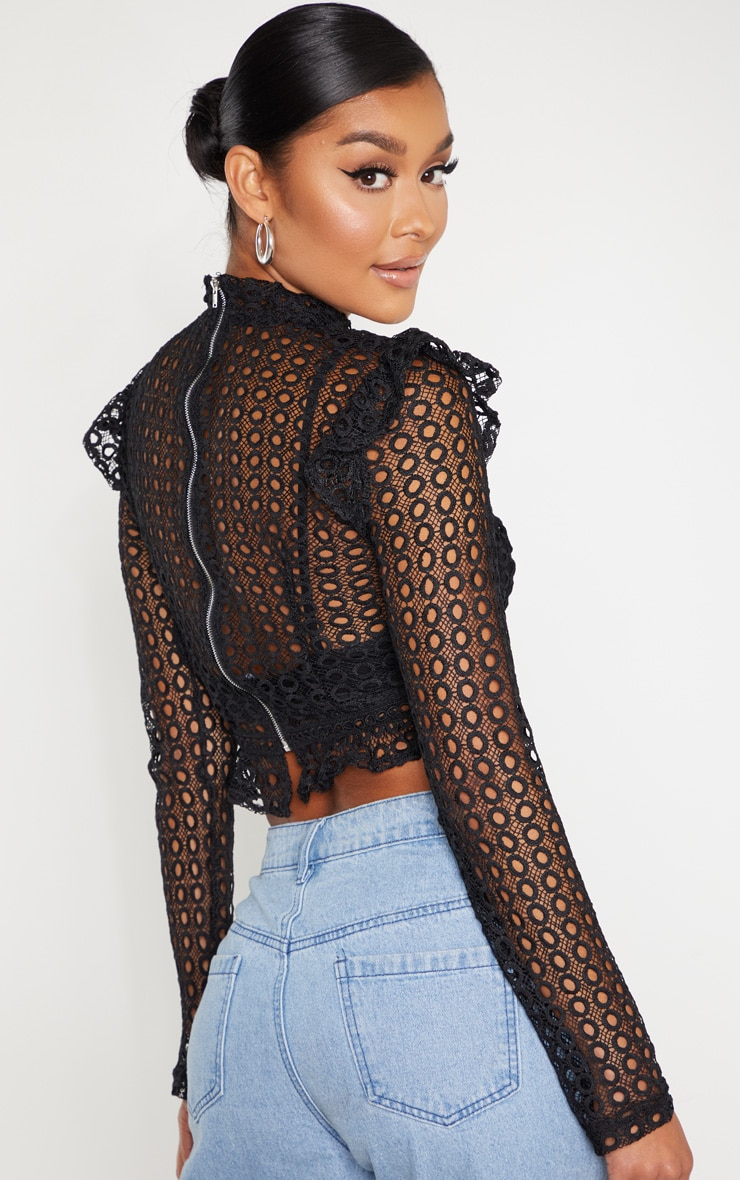 Black Crochet High Neck Blouse  2