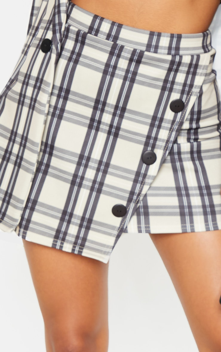Stone Checked Button Skirt 6