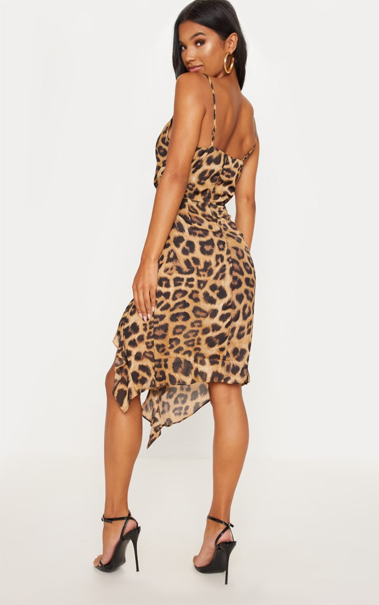 Tan Leopard Print Cowl Neck Frill Split Midi Dress 2