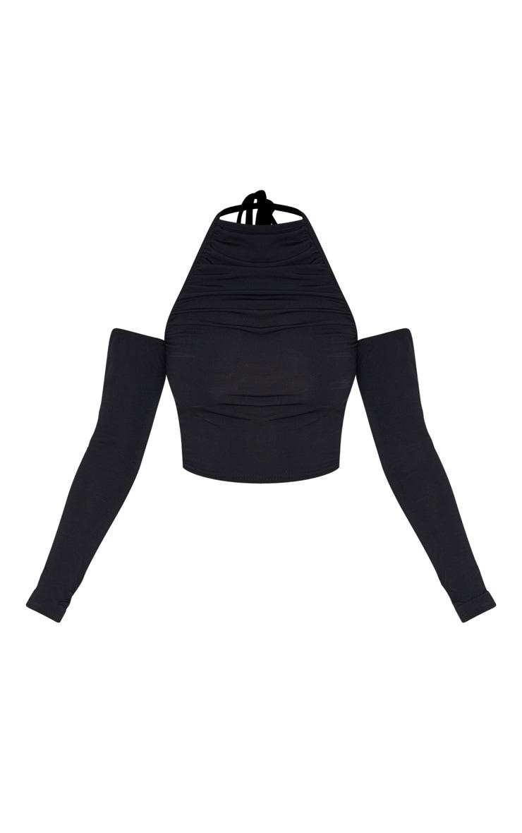 Petite Black Cut Out Shoulder High Neck Long Sleeve Crop Top 4