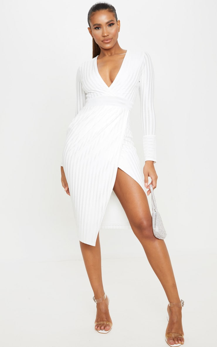 White Satin Stripe Wrap Midi Dress 1