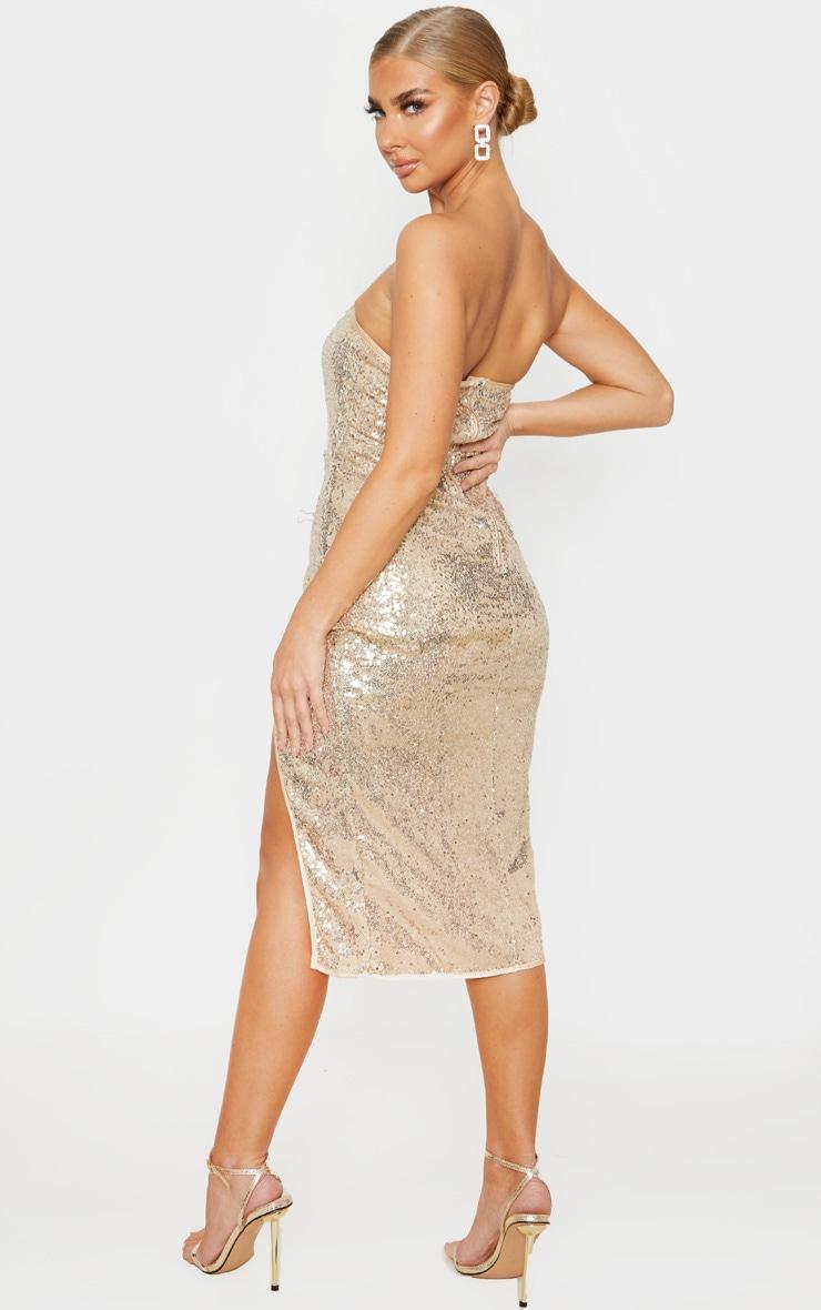 Gold Sequin V Bar Extreme Split Midi Dress 2