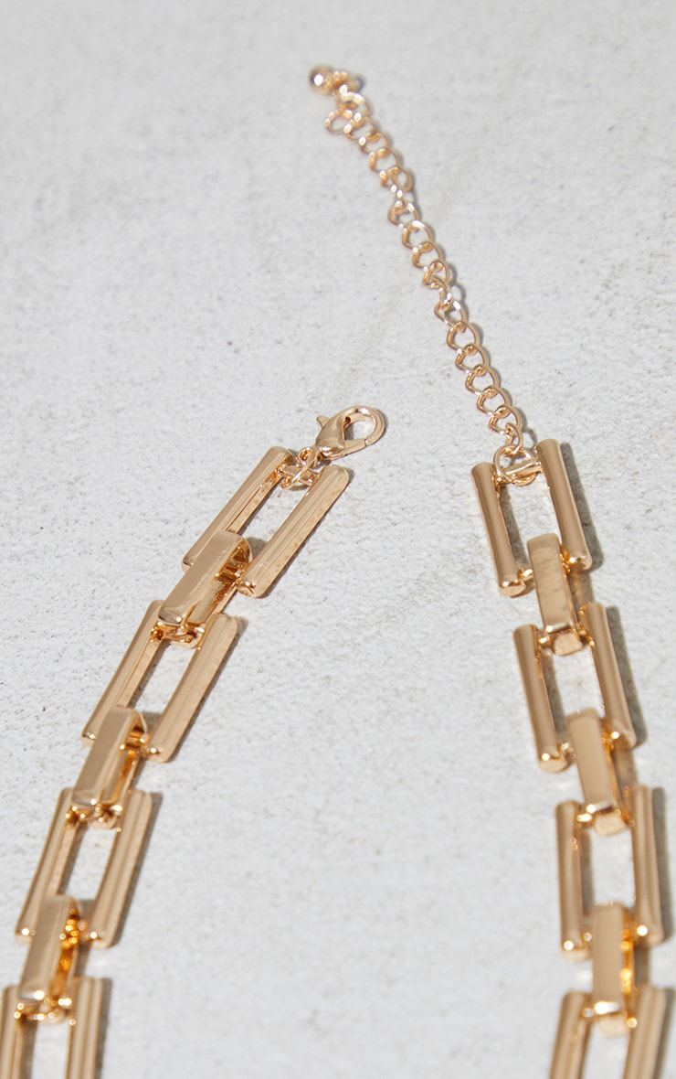 Gold Square Chain Link Necklace 4