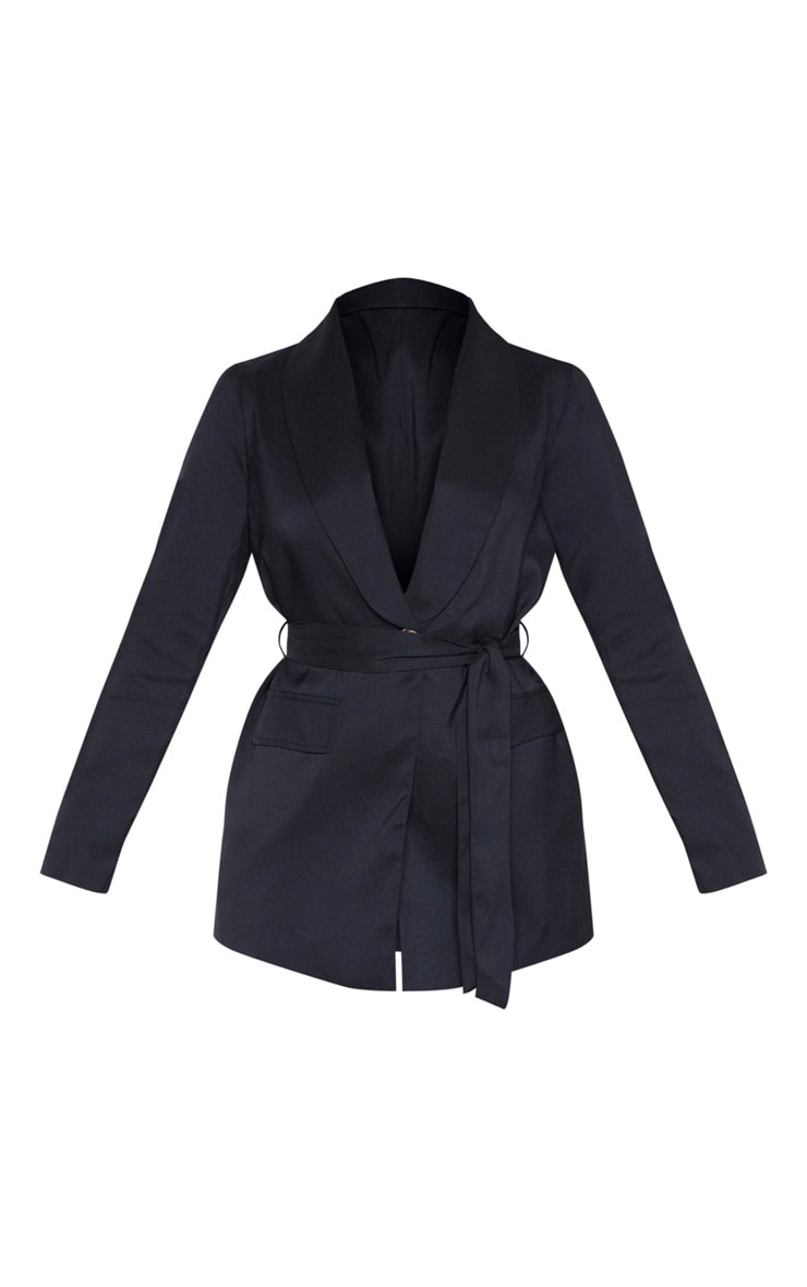 Black Belted Lapel Detail Woven Blazer 3