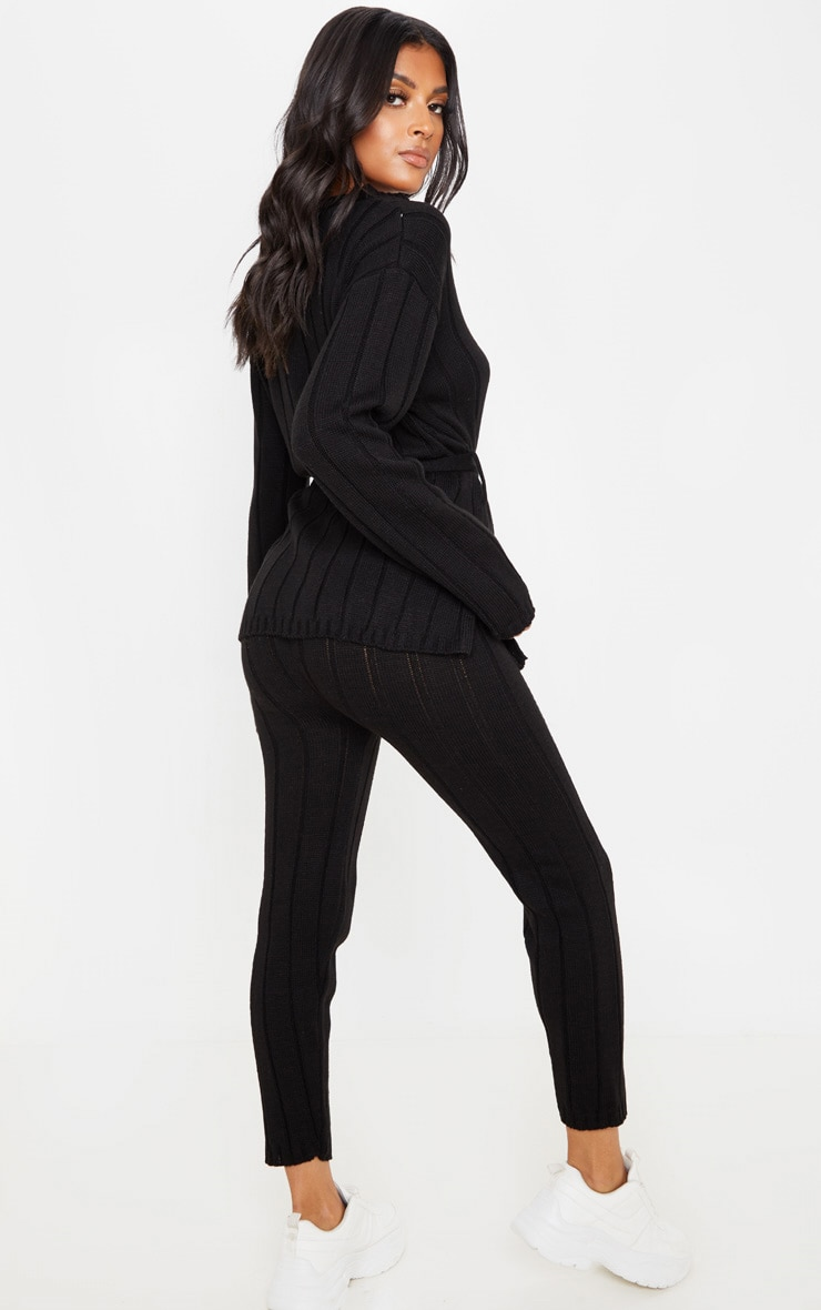 Black Belted Longline Sweater And Legging Lounge Set 2