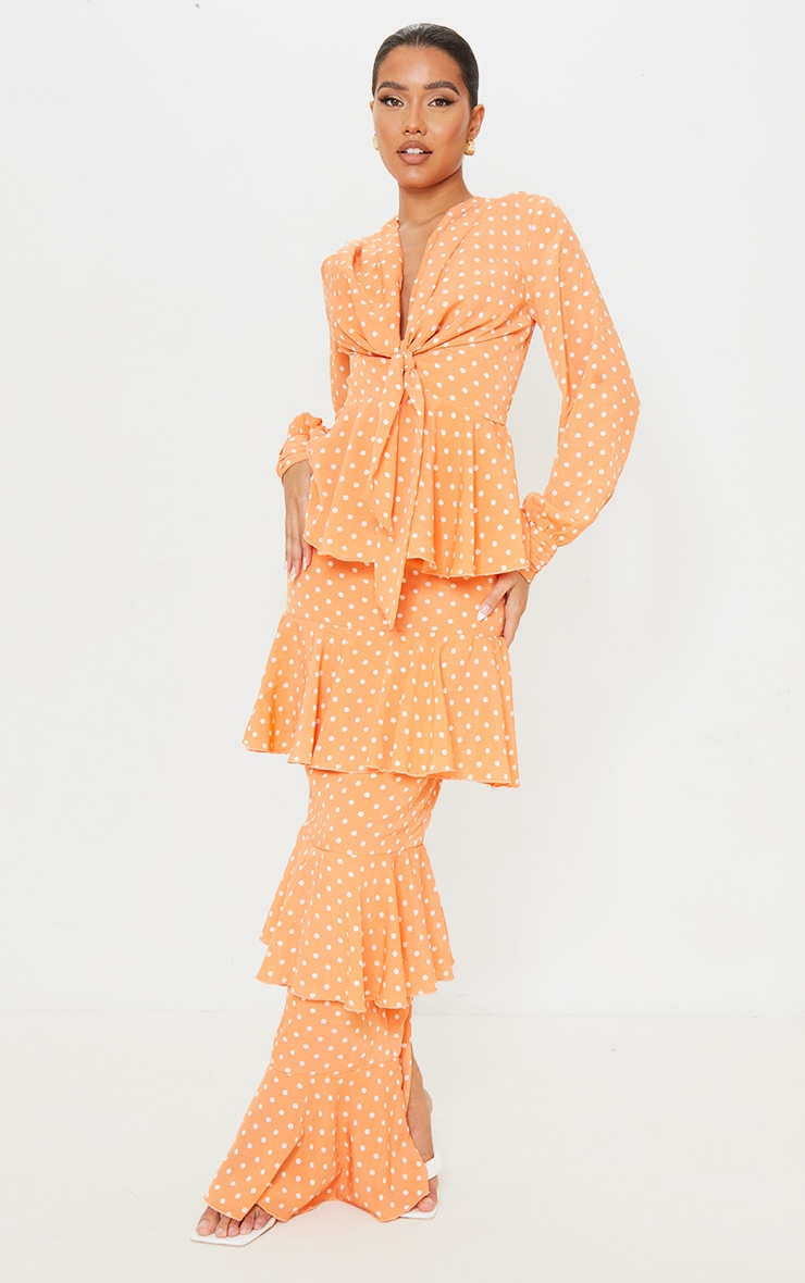 Peach Polka Dot Tiered Frill Long Sleeve Maxi Dress 1