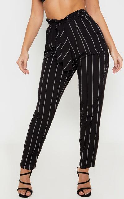 Black Stripe Woven Tie Front Skinny Trouser