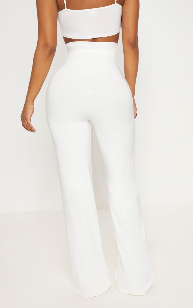 Shape White Slinky Extreme High Waist Detail Wide Leg Pants 4