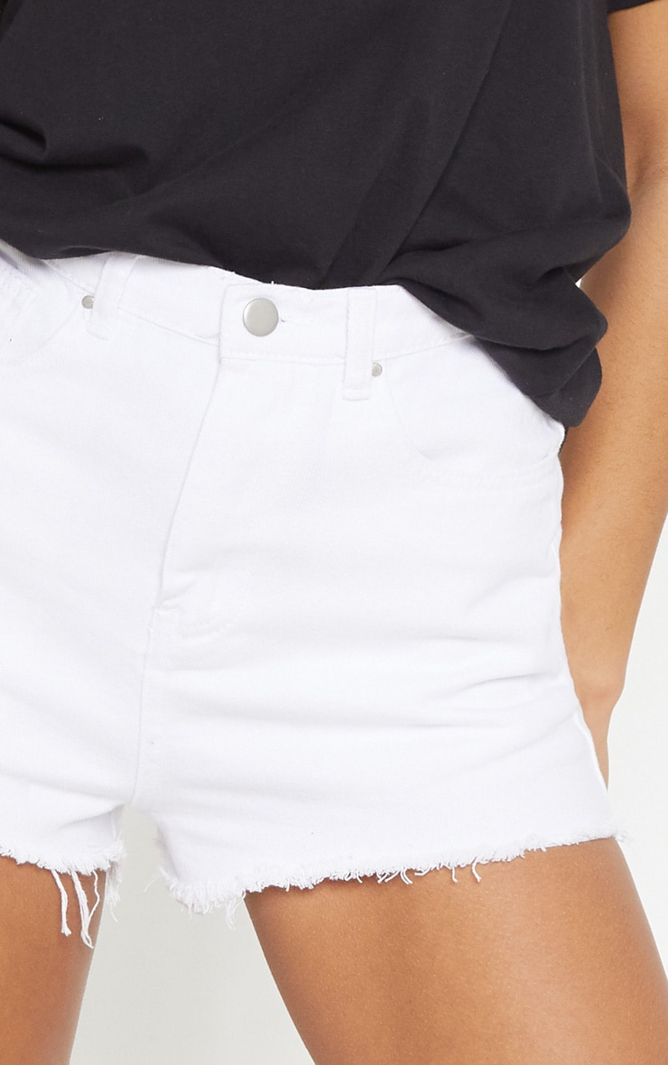 Shelby White High Waisted Denim Shorts 6