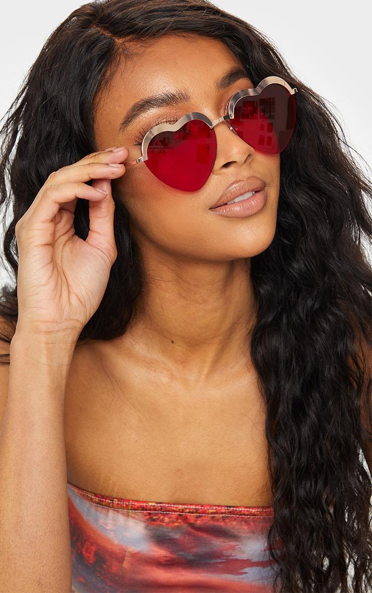 Red Lense Heart Shaped Glasses 1