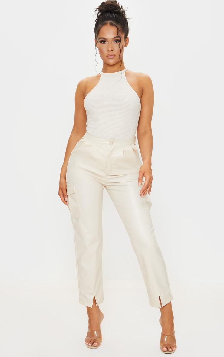 Cream Textured Racer Bodysuit 3