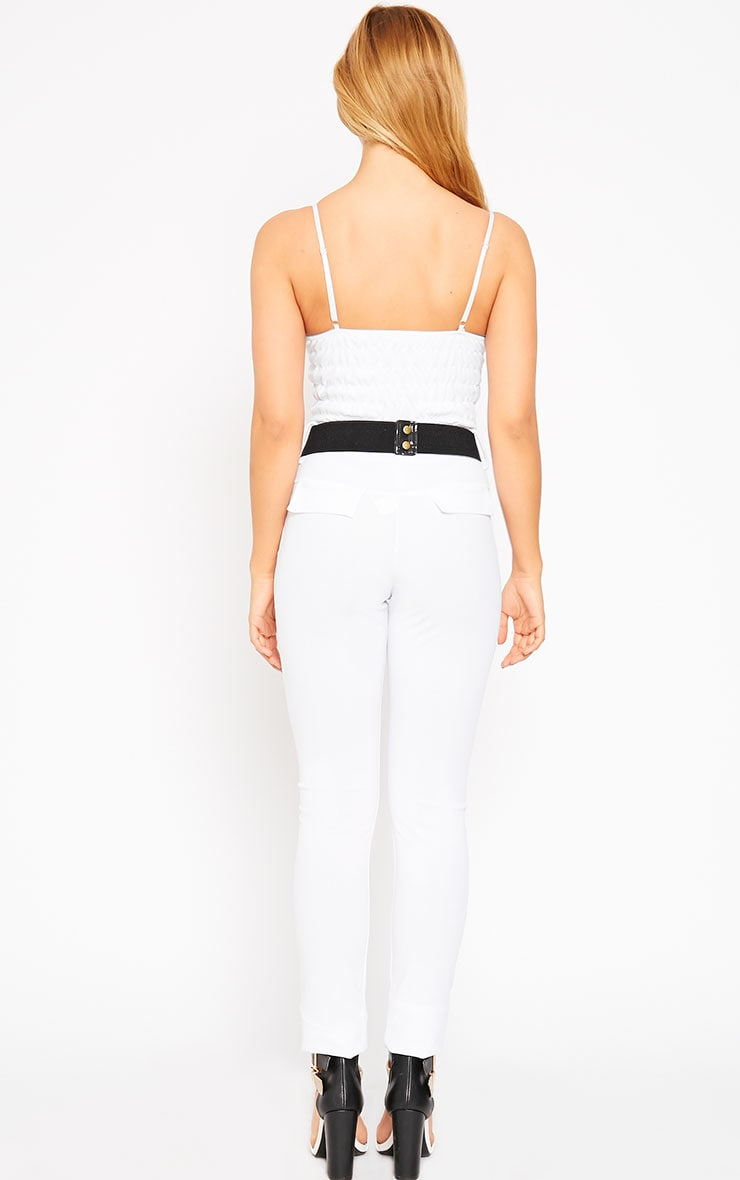 Leoni White Belted Jumpsuit 2