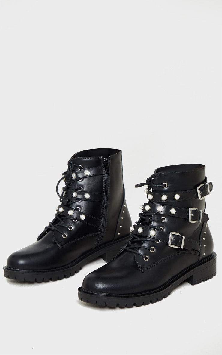Black Pearl Detail Triple Strap Biker Boot 3