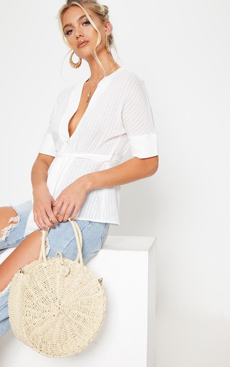 Cream Round Straw Handle Bag