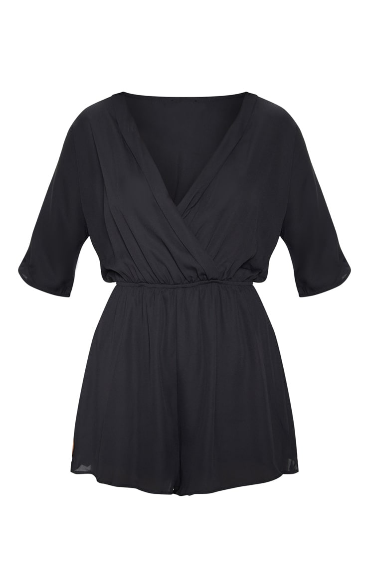 Bobby Black Wrap Front Playsuit  3