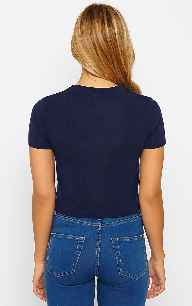 Basic Navy Short Sleeve Crop Top 2