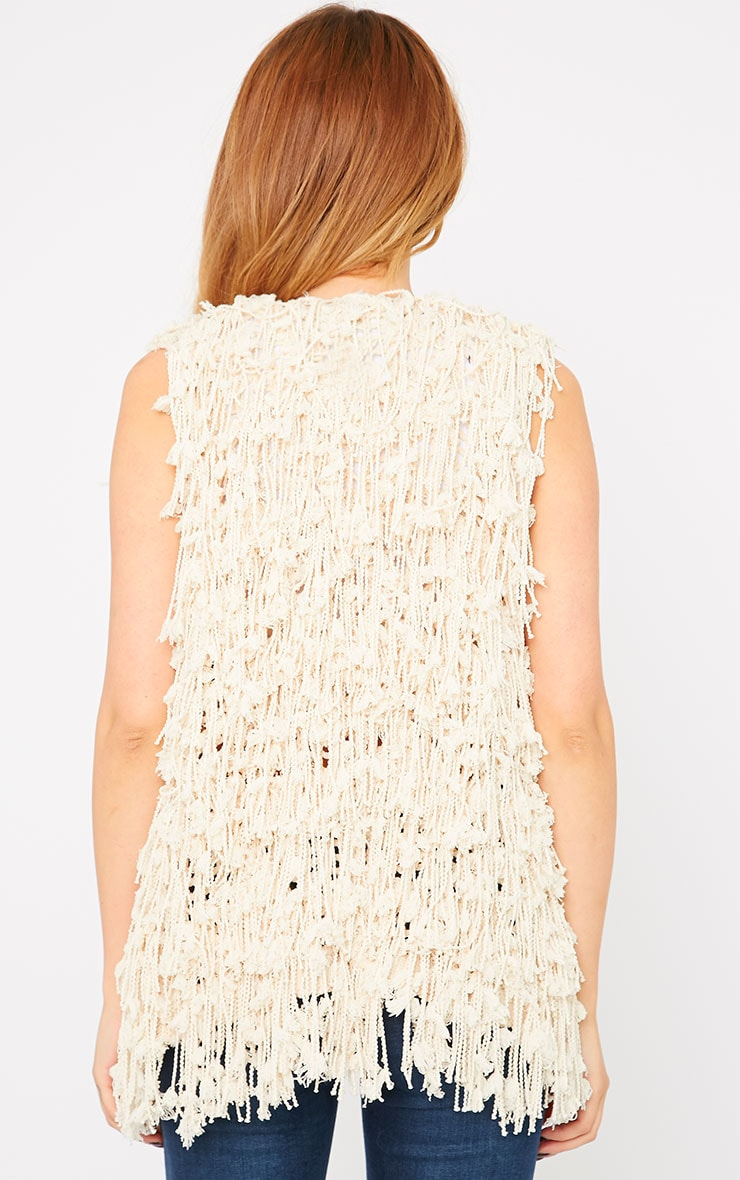 Reyna Cream Shaggy Knit Gilet  2