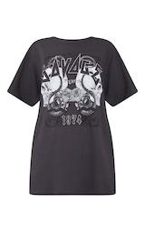 Charcoal Savage Slogan Rock T Shirt  5
