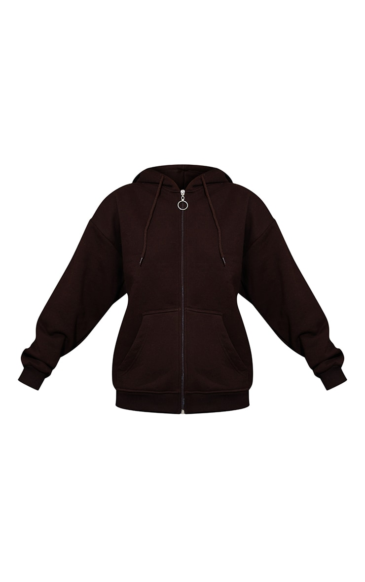 Petite Chocolate Brown Extreme Oversized Pocket Front Zip Through H 5