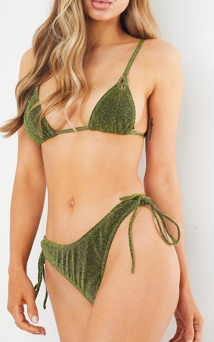 Green Glitter Triangle Cut Out Bikini Top 4