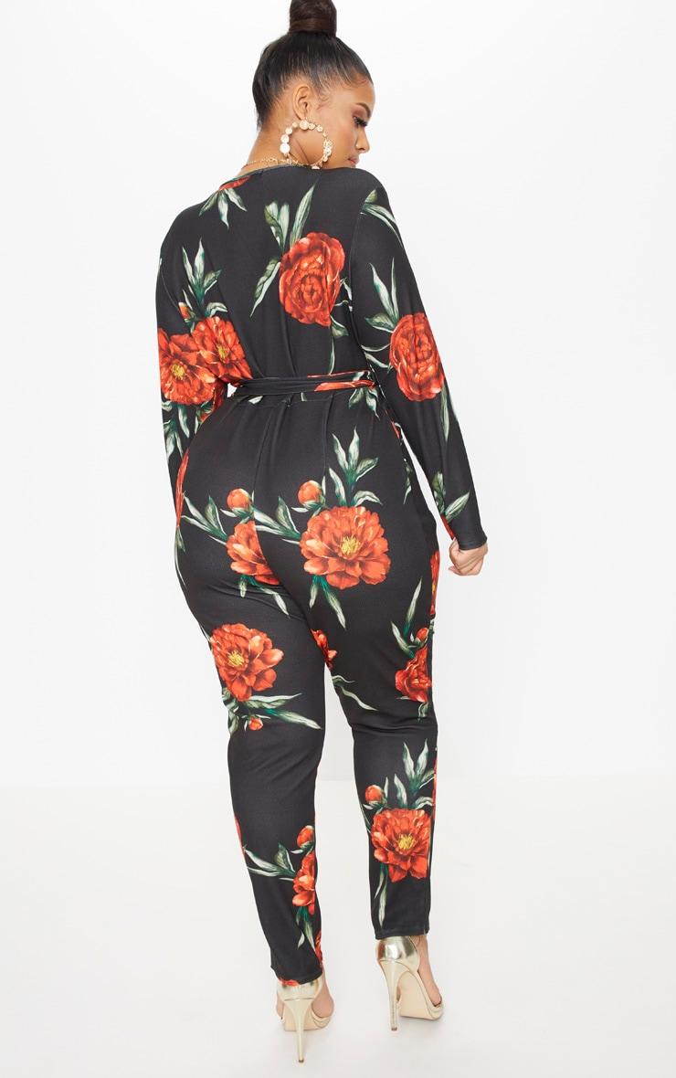 Plus Black Floral Tie Waist Plunge Jumpsuit 2