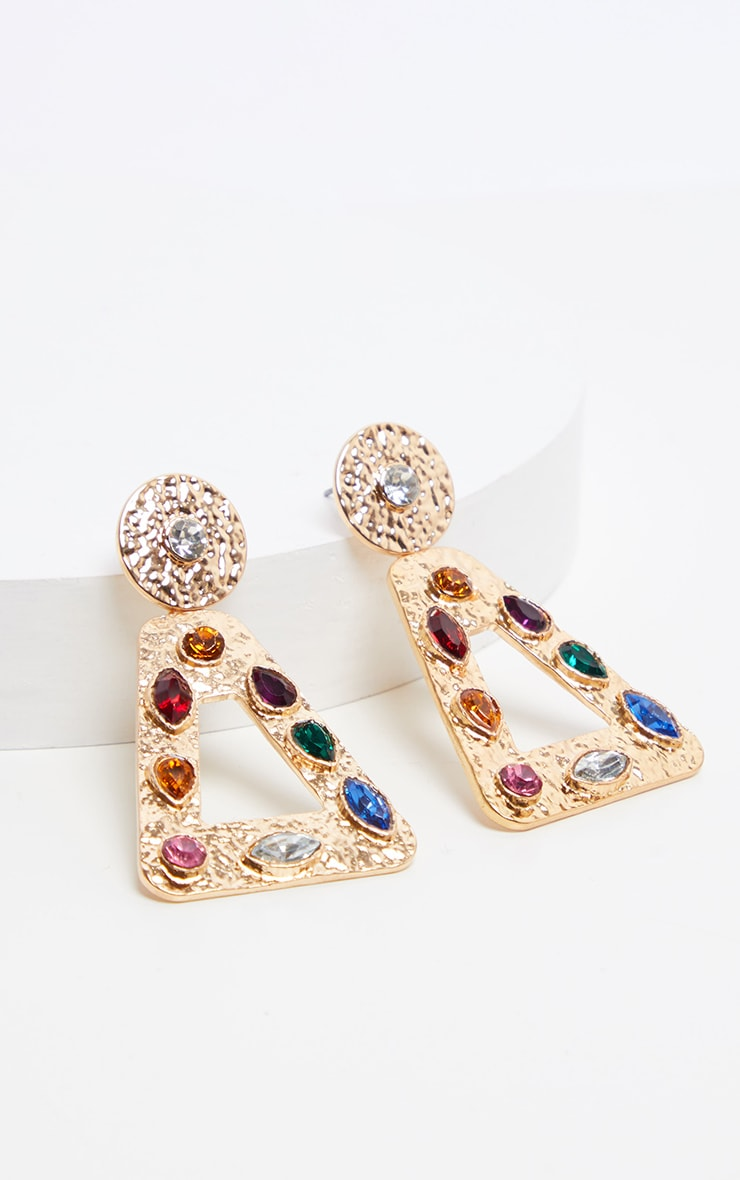 Multi Gemstone Triangle Door Knocker Earrings 3