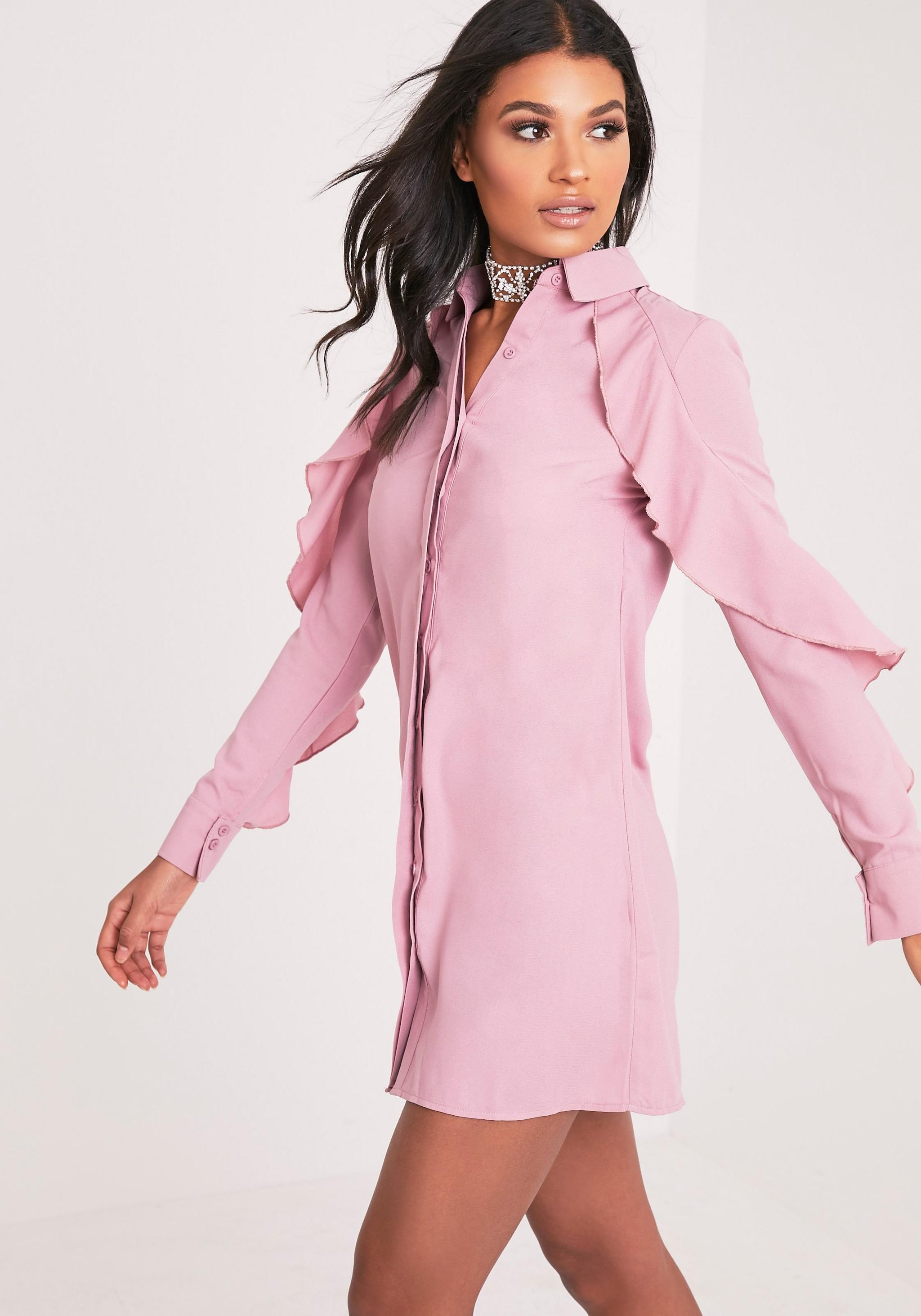 Angelica Dusty Pink Ruffle Detail Shirt Dress 5