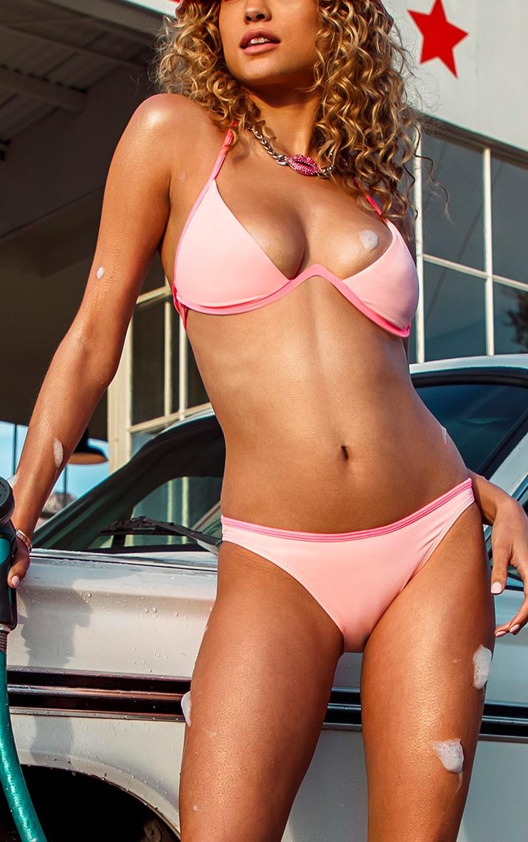 Pink Contrast Binding Bikini Bottom 1