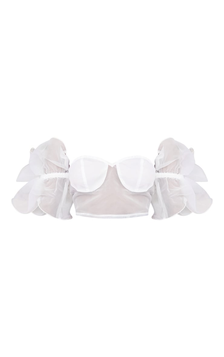 White Organza Cup Bardot Frill Sleeve Short Sleeve Crop Top 5