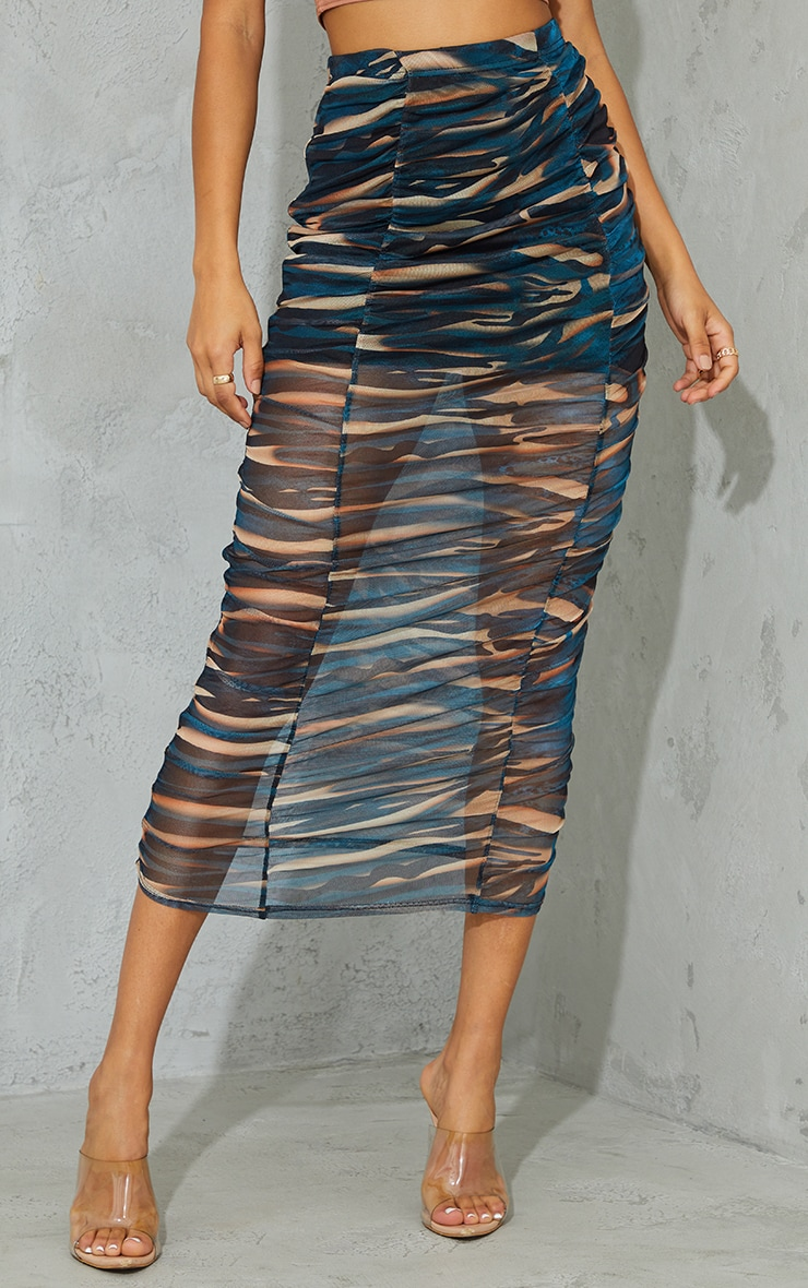Teal Spray Paint Print Mesh Ruched Overlay Maxi Skirt 2