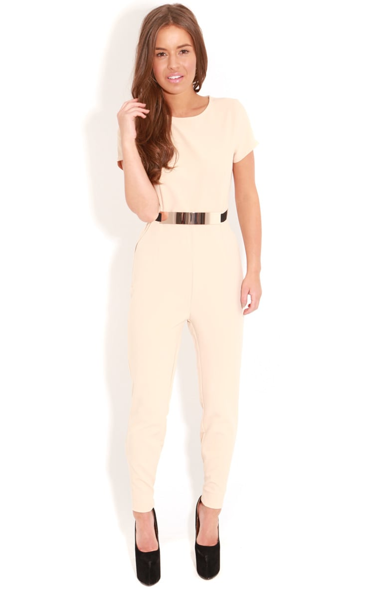 Alberta Beige Short Sleeve Fitted Jumpsuit With Bronze Tone Belt 1