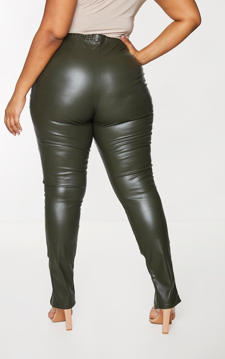 Plus Khaki PU Ruched Pants 3