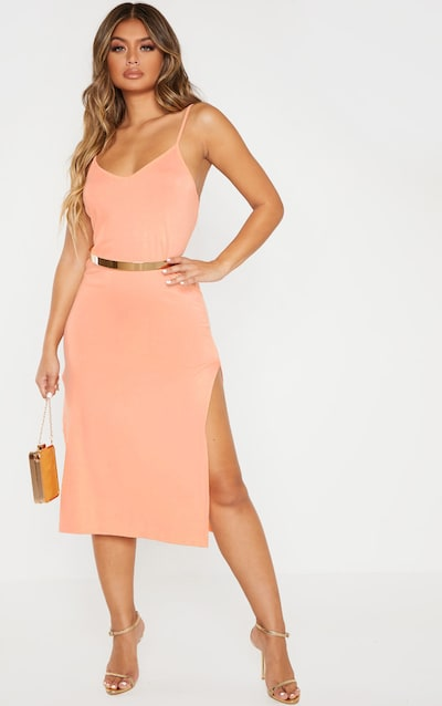 66060e00652 Peach Jersey Split Midi Dress