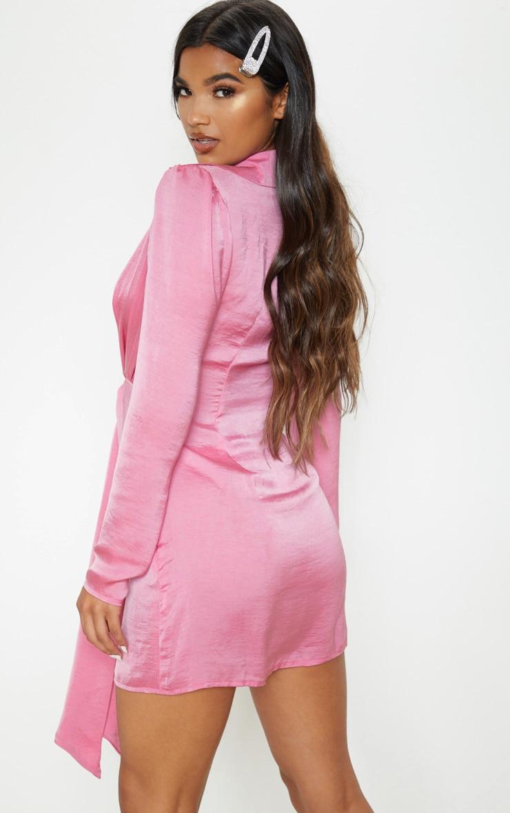 Pink Hammered Satin Tie Knot Detail Shirt Dress 2