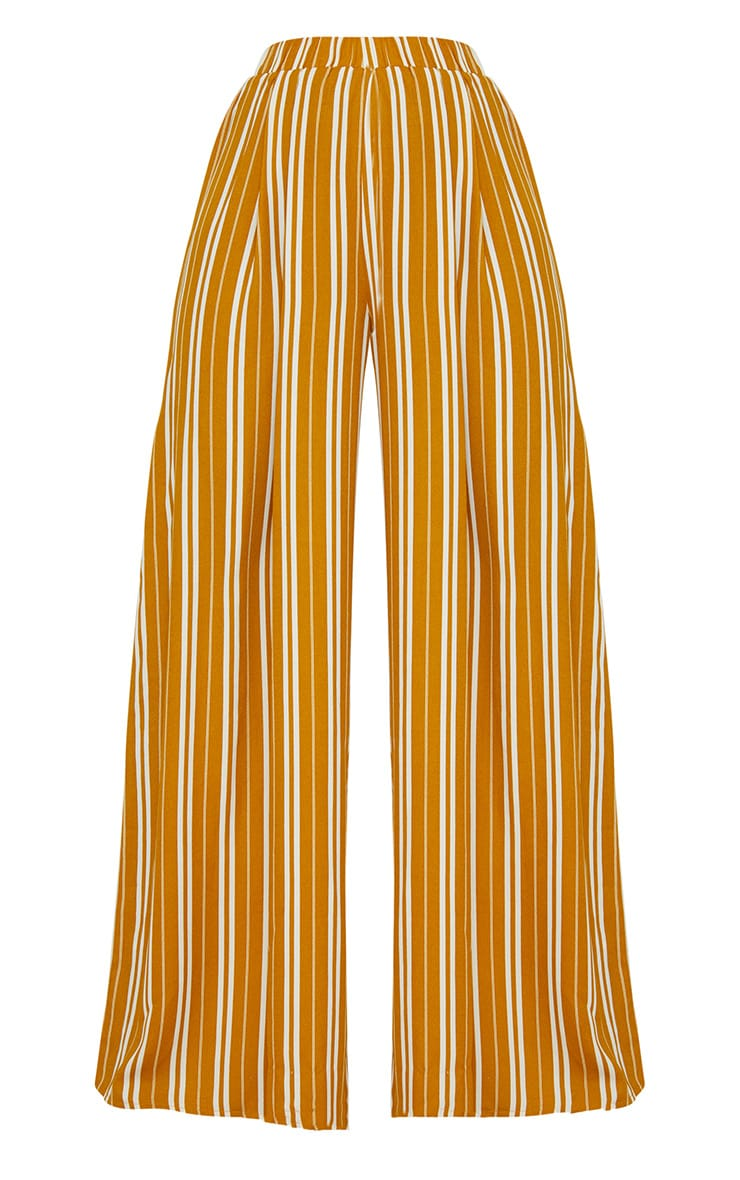 Mustard Formal Stripe Wide Leg Trouser  3