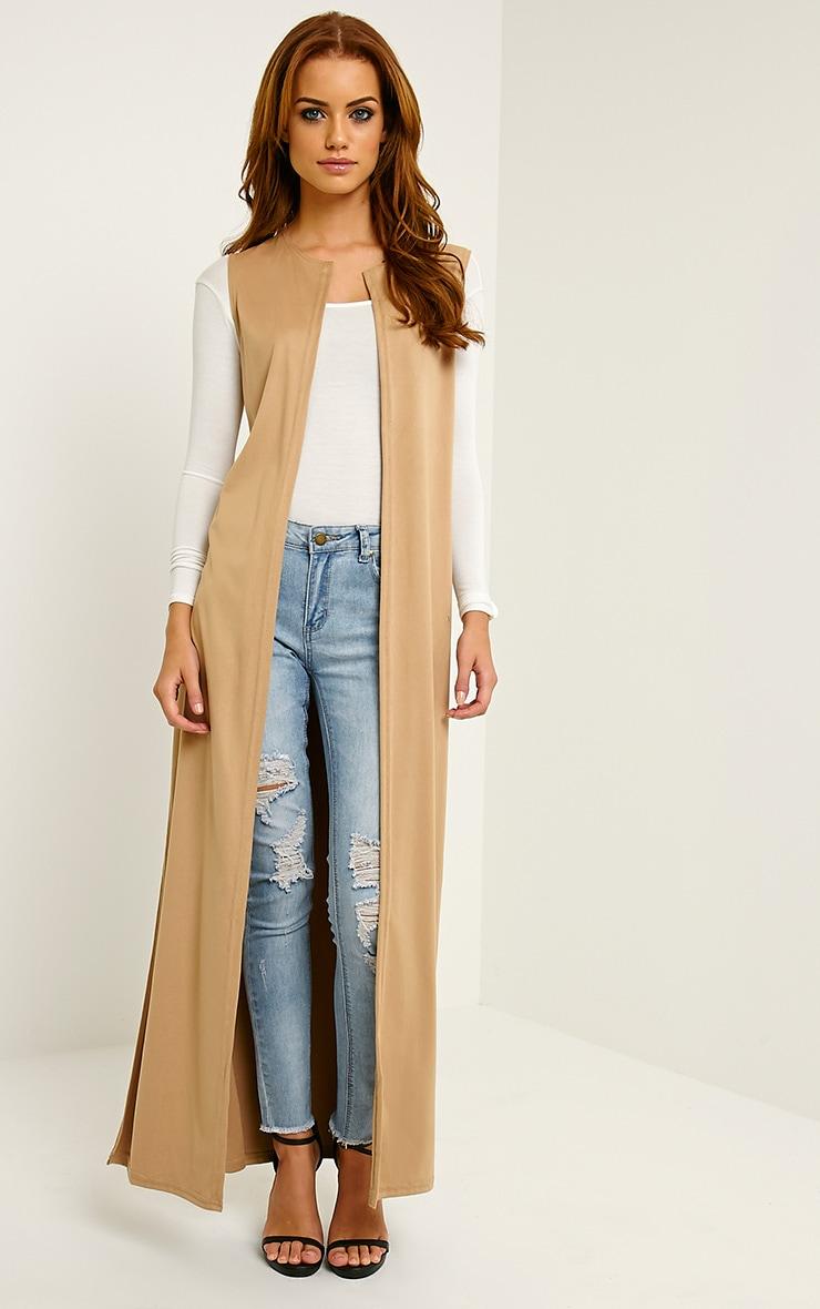 Reina Camel Long Length Faux Suede Kimono 1
