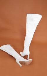Cream Matte Pu Flat Heel Over The Knee Boots 4